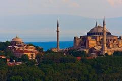 在Hagia Sophia的伊斯坦布尔视图 免版税图库摄影