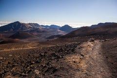 在Haleakala国家公园的火山的火山口在毛伊,夏威夷海岛上  库存图片