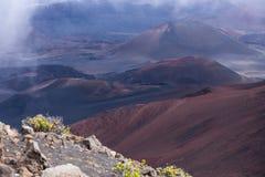 在haleakala里面的山顶火山 库存照片
