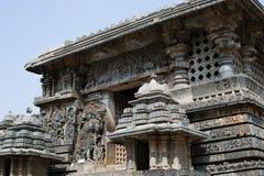 在Halebidu的印度希瓦寺庙 图库摄影
