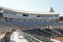 在Hammond体育场的新闻记者席 库存照片
