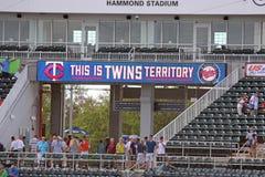 在Hammond体育场里面的记分牌 免版税库存照片