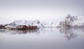在Hamnoy,挪威的日出 库存照片