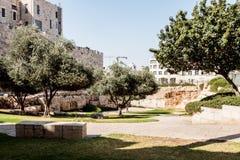 在HaTsanhanim街道上的国家公园在老城市的墙壁附近在新的门附近的耶路撒冷 免版税库存图片