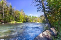 在Hayward附近的Namekagon河,威斯康辛 免版税库存图片