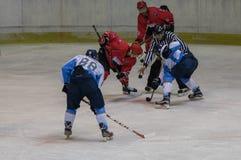 在HC Vojvoidna诺维萨德和HC特里格拉夫峰克拉尼之间的国际曲棍球联盟IHL比赛 库存图片