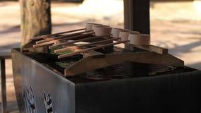 在Hikawa寺庙的洗净低谷在东京 影视素材