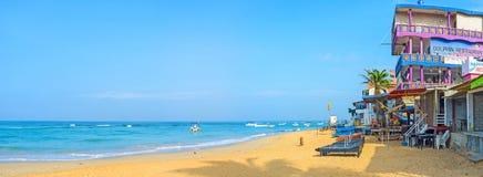 在Hikkaduwa海滩的早晨 库存照片