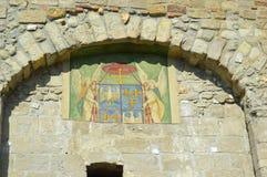 在Hippolyt门的壁画,其中一埃格尔城堡的正门 库存照片