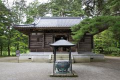 在Hiraizumi建立Motsu寺庙` s大厅  库存照片