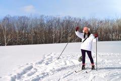 在Hitsuji观察小山的滑雪地区 免版税图库摄影