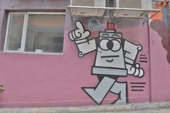 在hk的街道画墙壁都市艺术 皇族释放例证
