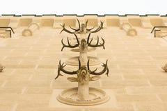 在Hluboka城堡的鹿鹿角 免版税图库摄影