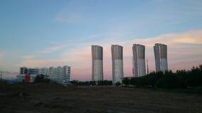 在Hodynka领域的日落 库存照片
