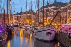 在Hoge der Aa码头的历史的帆船 免版税库存图片