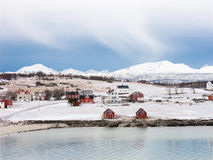 在Holdoya海岛上的冬天在诺尔兰,挪威 免版税图库摄影