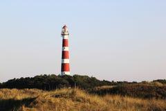 在Hollum,荷兰附近的阿默兰岛灯塔Bornrif 免版税库存照片