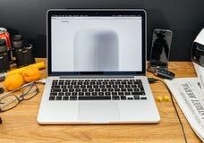 在homepod的WWDC最新的公告的苹果电脑 图库摄影