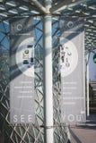 在HOMI,家国际展示的下副编辑横幅在米兰,意大利 库存图片
