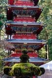 在Honden寺庙的塔在日光,日本 免版税图库摄影