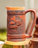 在Horezu的陶瓷瓦器,罗马尼亚 免版税库存照片