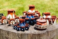在Horezu的陶瓷瓦器,罗马尼亚 库存照片