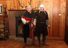 在Houska城堡的夜表现 库存照片