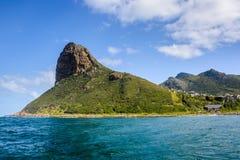 在Hout海湾,南非的稍兵峰顶 免版税库存照片