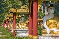 在Hpa-an附近的许多菩萨雕象 免版税库存图片