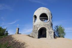 在Hrensko和Decin,捷克共和国,欧洲附近的新的现代小公开监视塔Ruzenka 库存图片