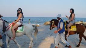 在huahin海滩的马骑术 图库摄影