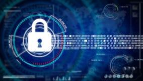 在HUD的抽象背景动画锁安全概念和数据保密安全概念的网络未来派背景 向量例证