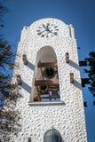 在Humahuaca Cabildo香港大会堂钟楼- Humahuaca, Jujuy,阿根廷的敲响的响铃 免版税库存图片