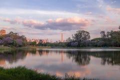 在Ibirapuera Park湖和圣保罗方尖碑-圣保罗的日落 免版税库存照片