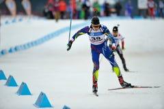 在IBU Youth&Junior世界冠军的滑雪竞争者 图库摄影