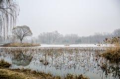 在Ice湖的一座石桥梁在雾天 库存图片