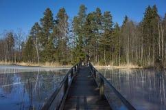在Ice湖的木桥梁 免版税库存图片