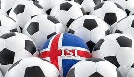 在Icelands国民颜色的足球 库存图片