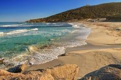 在Ile鲁塞附近的博德里海滩在可西嘉岛 免版税库存图片