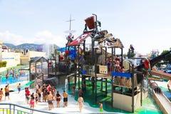在Illa幻想曲巴塞罗那的水公园的吸引力 免版税库存图片