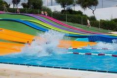 在Illa幻想曲waterpark的水滑道 库存照片