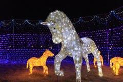 在illumia节日的马装饰在釜山,韩国 免版税库存照片