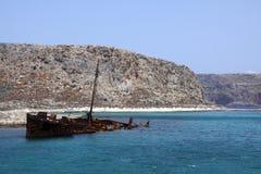在Imeri Gramvoussa的老海难 免版税库存图片
