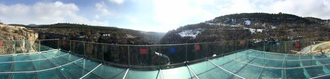 在incekaya峡谷番红花城Karabuk土耳其的水晶大阳台 步和台阶,是被雕刻的i 免版税库存照片