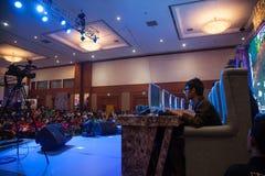 在Indo电视知识竞赛的电子游戏竞争2013年 库存图片
