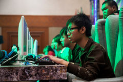 在Indo电视知识竞赛的电子游戏竞争2013年 库存照片