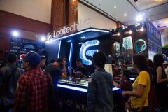 在Indo电视知识竞赛的罗技2013年 免版税库存图片