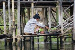 在Inle湖的日常生活在缅甸,亚洲 免版税库存照片