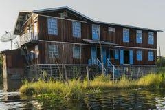 在Inle湖的生活 图库摄影