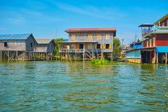 在Inle湖,缅甸的住房 免版税库存照片